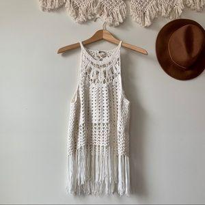 Show Me Your Mumu Flower Crochet Fringe Crop Top